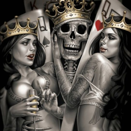 Two Queens And A Skeleton Ace.