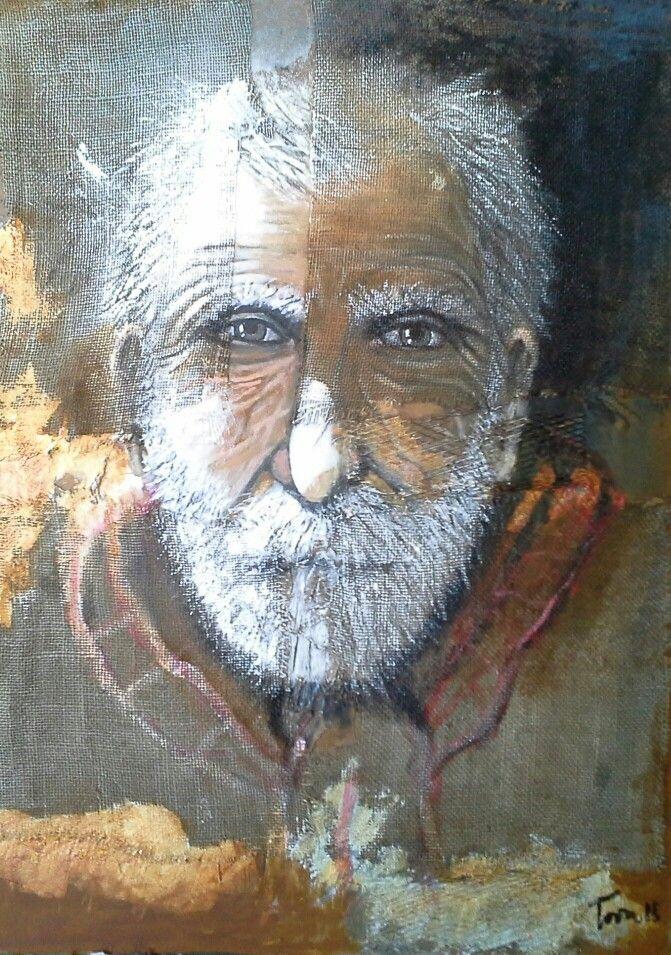 The partisan mixed on juta 50x70 cm Luigi Torre painter