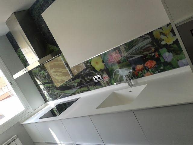 Frentes de cocina de vidrio templado con foto buscar con - Cocina con pared de cristal ...