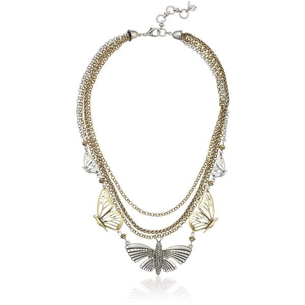 Lucky Brand Mid Length Butterfly Necklace ($39) ❤ liked on Polyvore featuring jewelry, necklaces, monarch butterfly jewelry, lucky brand jewellery, butterfly necklace, butterfly jewelry and monarch butterfly necklace