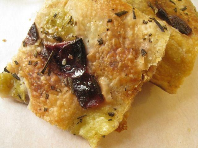 Muscadine and rosemary focaccia, and brown sugar yogurt panna cotta with muscadine gelee