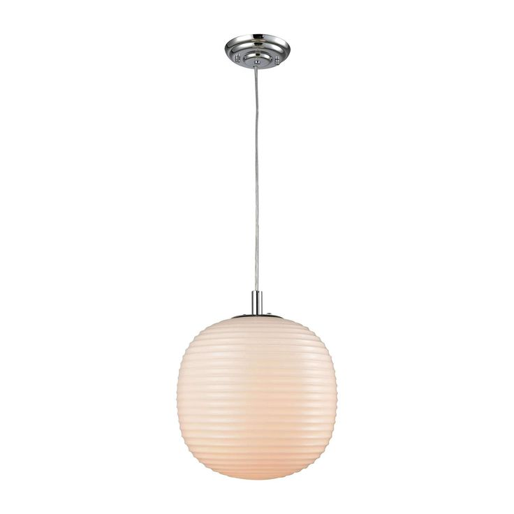 Beehive 1 Light Pendant In Polished Chrome With Opal White Beehive Glass - Includes Recessed Lighting Kit