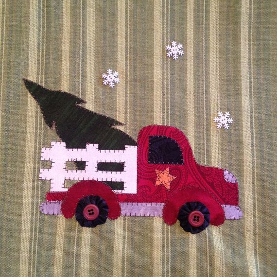 Christmas Delivery is a cute Christmas design. Grandpa is bringing the tree home to the farm... its a special Christmas delivery, a freshly cut tree! Snow is gently falling as grandpa brings this special tree home. I can smell the fresh scent of pine..... This applique design can be put on a tea towel like the directions instruct or used as a quilt square, appliqued pillow or any project that your imagination can think up. Let your imagination go! This adorable red truck would also be cute…