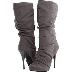 Grey heeled boots.