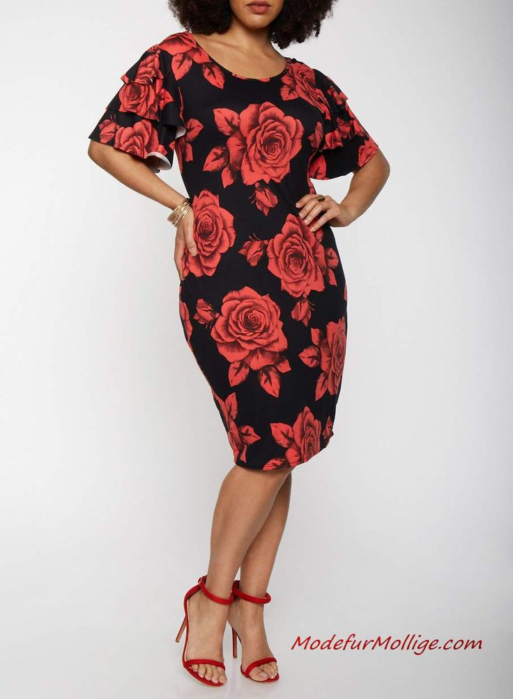 Große größe rotes Midiblumenkleid #mode #damenm…