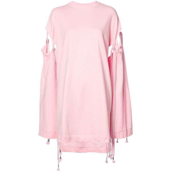 Fenty X Puma sleeve tie sweatshirt (3.535 CZK) ❤ liked on Polyvore featuring tops, hoodies, sweatshirts, pink tops, puma sweatshirt, oversized tops, pink sweatshirts and tie top