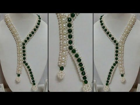 #67 How to Make Pearl Beaded Necklace || Diy || Jewellery Making - YouTube