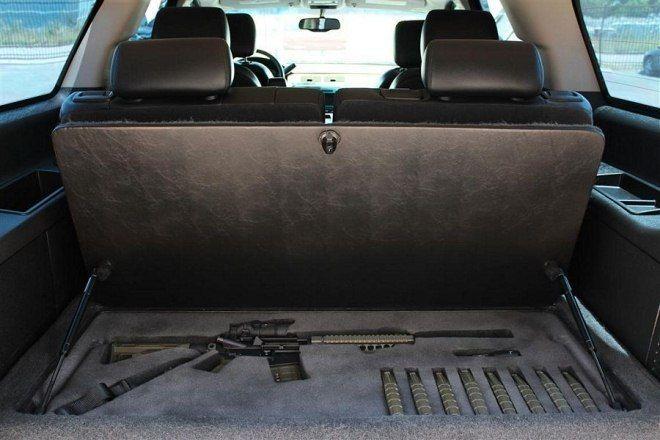 Under the back seat gun storage...