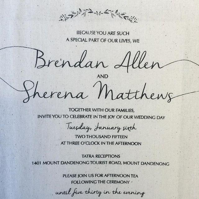 """Printing your invite on calico cloth! Super rustic and beautiful!  Email us today!  #weddinginvites #invites #calico #silkscreen #screenprint #customprint #unquie #melbournebrides #australiawedding"""