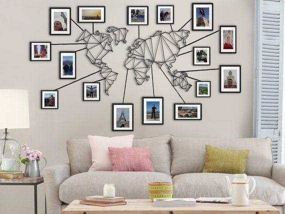 Metal World Map Wall Hanging for Frames, 100 x 61 cm Geometric Wall Art, Travel Lovers Gift, Art Deco Home Decor, World Travel Framed Art