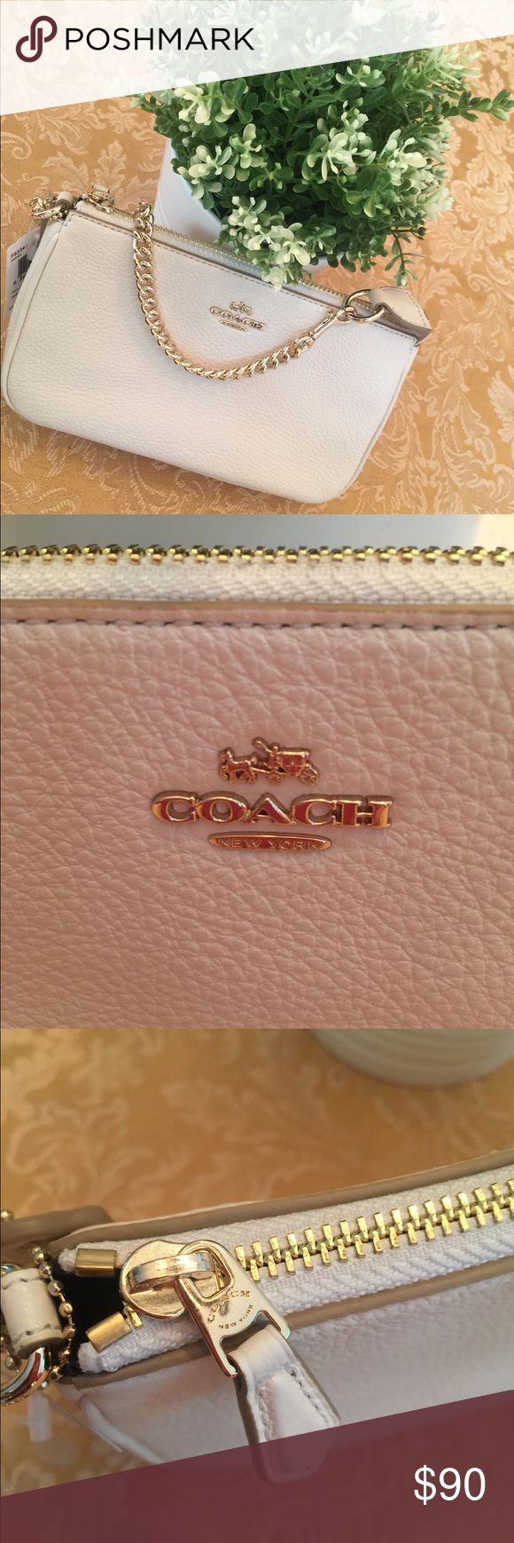 Large Coach Wristlet with Gold Chain Large Coach wristlet in white pebble leather and gold chain strap. Coach Accessories Hats