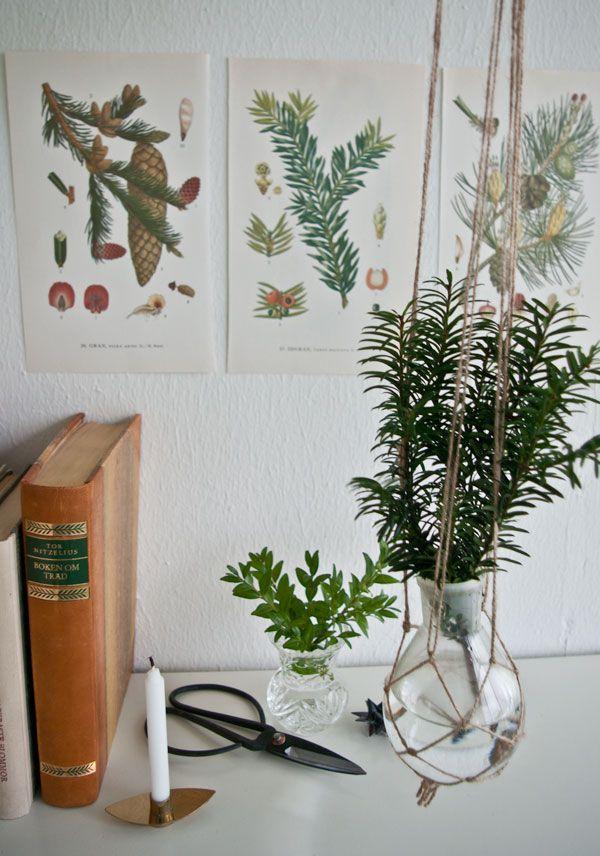 Ampel av makramé till flaska + ljusstake smyckad med glasprismor av Fanny på Flora Interiör