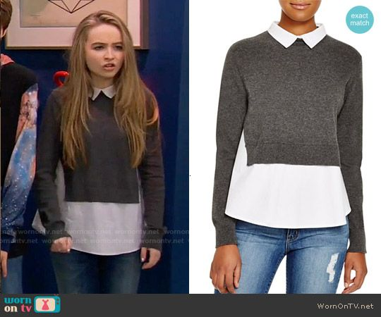 Maya's grey layered sweater on Girl Meets World. Outfit Details: https://wornontv.net/55763/ #GirlMeetsWorld Buy it at Bloomingdales: http://wornon.tv/34601