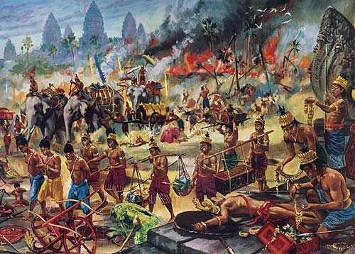 """""""The earth is plunged into a sea of ruin wrought by the enemy."""" """"Death of Angkor: Victorious Thai loot the city and march away prisoners"""" by Maurice Fievet."""