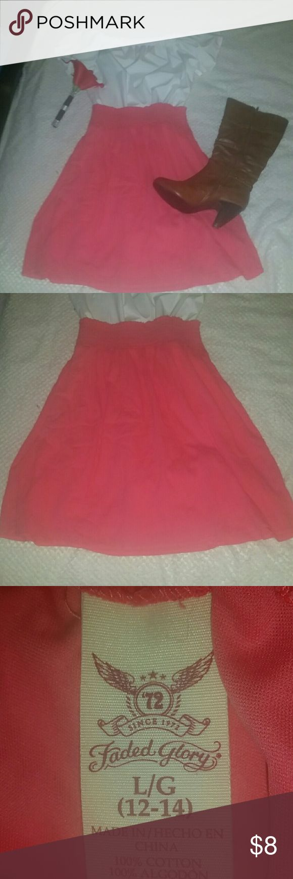 Coral skirt Adorable coral skirt with thick elastic waistband. Has a built in slip. Great for twirling!😁 size Large Faded Glory Skirts Midi