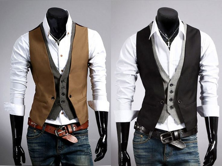 New Fashion Men Jacket Suit Slim Fit Vest Casual Business Formal Vest Waistcoat in Clothing, Shoes & Accessories, Men's Clothing, Vests | eBay