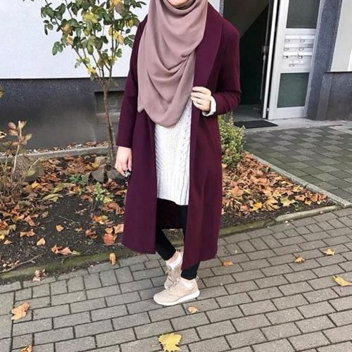 maroon-long-coat-hijab-style- Winter hijab fashion outfits http://www.justtrendygirls.com/winter-hijab-fashion-outfits/