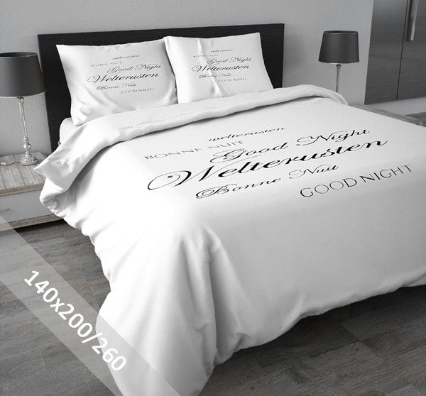 DreamHouse Dekbedovertrek - Welterusten - Wit - 140x200-260 cm - 100% flanel