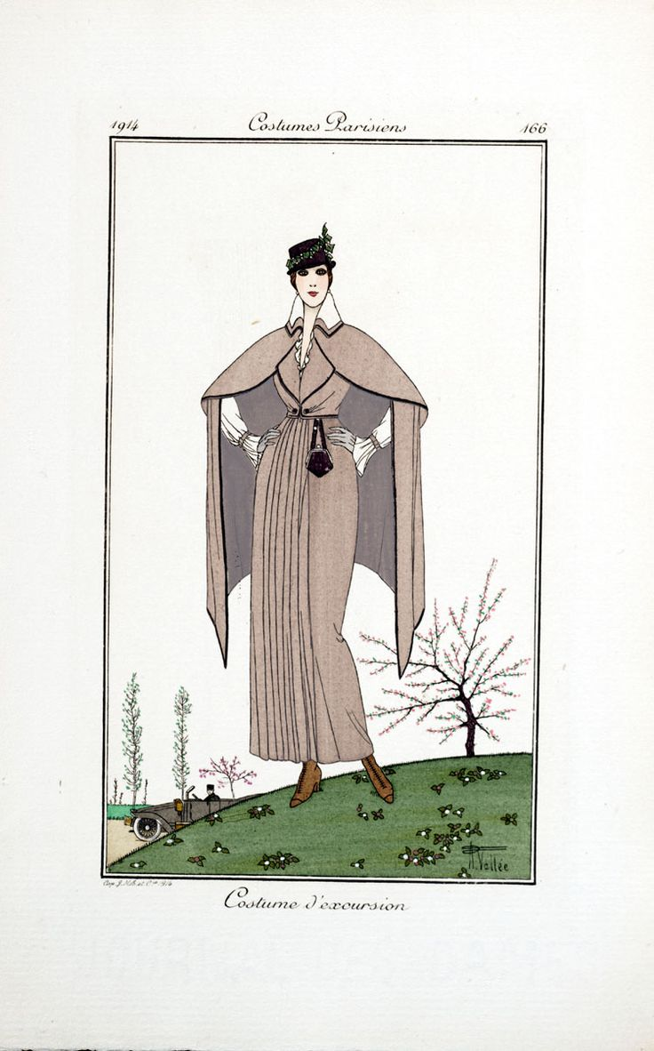 Journal des dames et des modes, 1914Afternoon Ensemble, Numbers Sil33 057 12 166, Of, Fashion, Image Numbers Sil33 057 12, 166 1914, 1910 1919, Parisian Costumes, Mode
