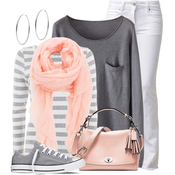 Peach & Grey by wishlist123 on Polyvore featuring Mint Velvet, CIMARRON, Converse, Coach, Michael Kors, Faliero Sarti, converse, coach, waystowear and peachandgrey