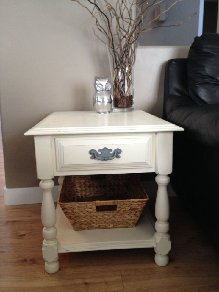 Annie sloan chalk painted end table ~ old white