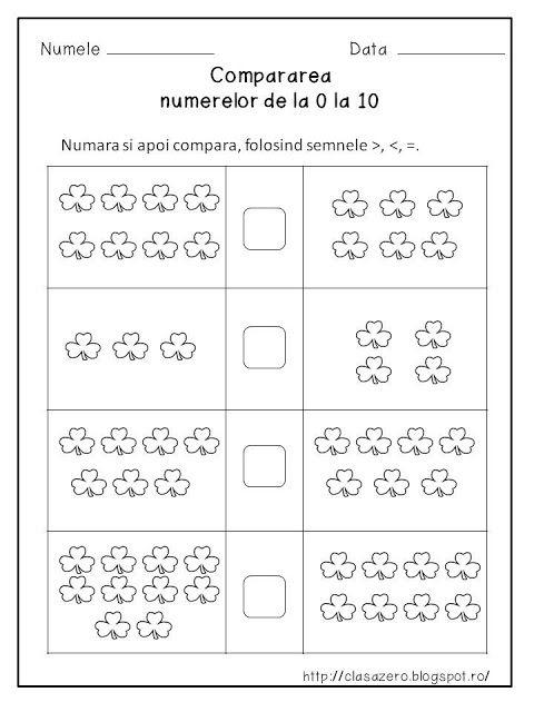 Clasa pregatitoare: Compararea numerelor 0-10