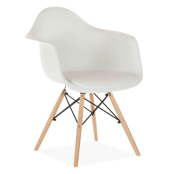 Inspiriert vom Stuhl DAW von Charles & Ray Eames.      Die Beinform erinnert an den Eiffelturm.      Sitz und Rückenlehne aus einem einzigen Polypropylen-Stück.      Mit PU bezogenes Kissen für höheren Komfort.      Höhe der Armlehnen: 68 cm.      Buchenholzbeine über Stahlstäbe verbunden.      In mehreren Farben verfügbar.  Der Stuhl DIMERO ist eins der beliebtesten Modelle des Avantgarde-Designs des letzten Jahrhunderts. Stil, Eleganz und Komfort werden vereint, um Ihrem Heim ode...