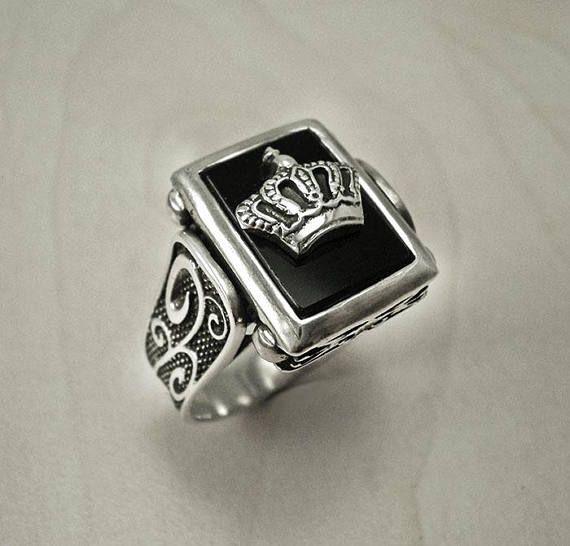 mens signet ringsilver crown ringsignet silver ringblack