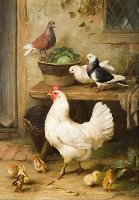 Hen & Piegon's..Edgar Hunt Two of my favorite birds! : )
