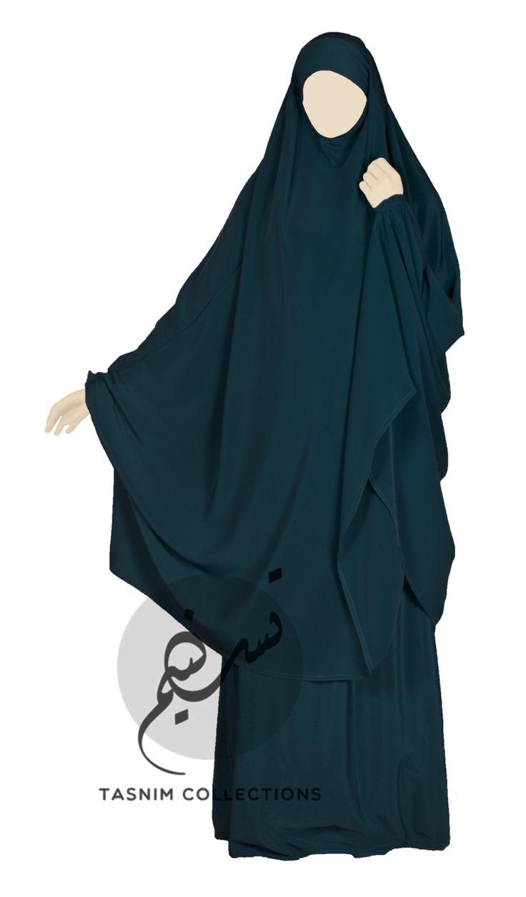 """2 pcs jilbab """"Safiyya"""" with skirt - dark teal - Tasnimcollections"""