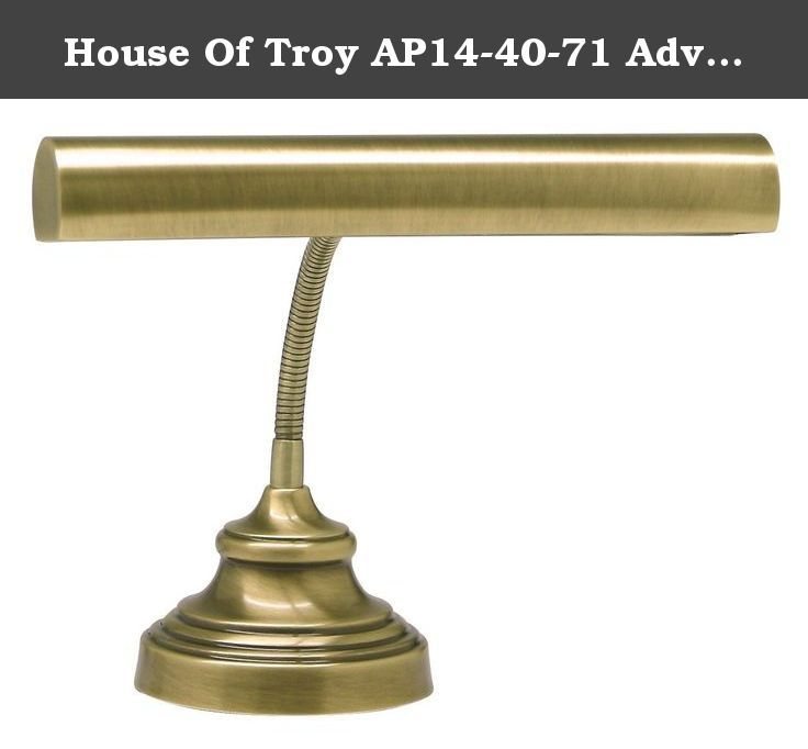House Of Troy AP14-40-71 Advent Collection 12-1/2-Inch Gooseneck Portable Piano/Desk Lamp, Antique Brass. This gooseneck piano desk lamp features an antique brass finish and steel construction. The shade swivels to direct light. From the House of Troy brand, who have been manufacturing picture and piano lights since 1960. - Steel construction. - Antique brass finish. - Takes one 25 or 40 watt incandescent bulb (not included). - Shade swivels to direct light. - In-line switch. - 9 foot…
