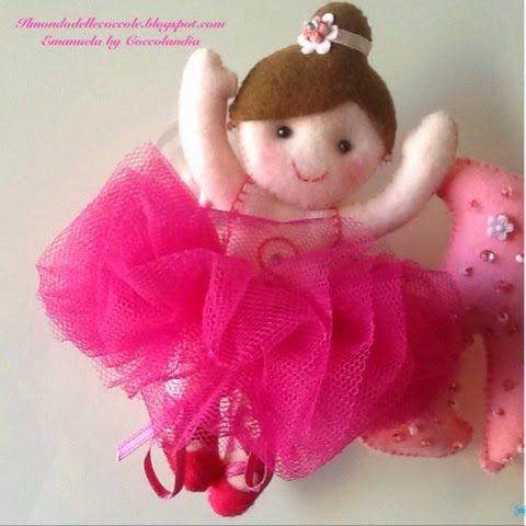 Ballerina sulle punte fucsia. Banner per MariaSofia ❤️❤️❤️ in feltro, pannolenci, tessuto, handmade.  Realizzata interamente a mano senza l'ausilio di macchina da cucire.