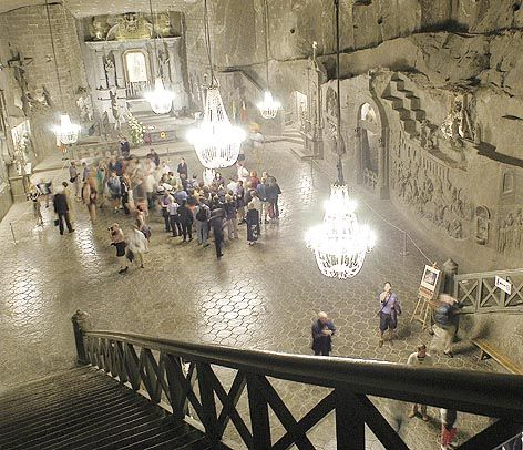 The Chapel of St. Kinga, located 300 feet underground at the Wieliczka Salt Mine in Wieliczka, Poland, is real.  And made almost entirely of rock salt.