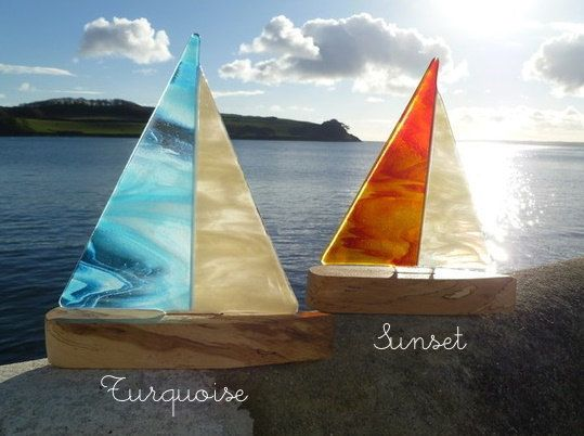 Fused Glass Boat Sculpture - St.Mawes Collection