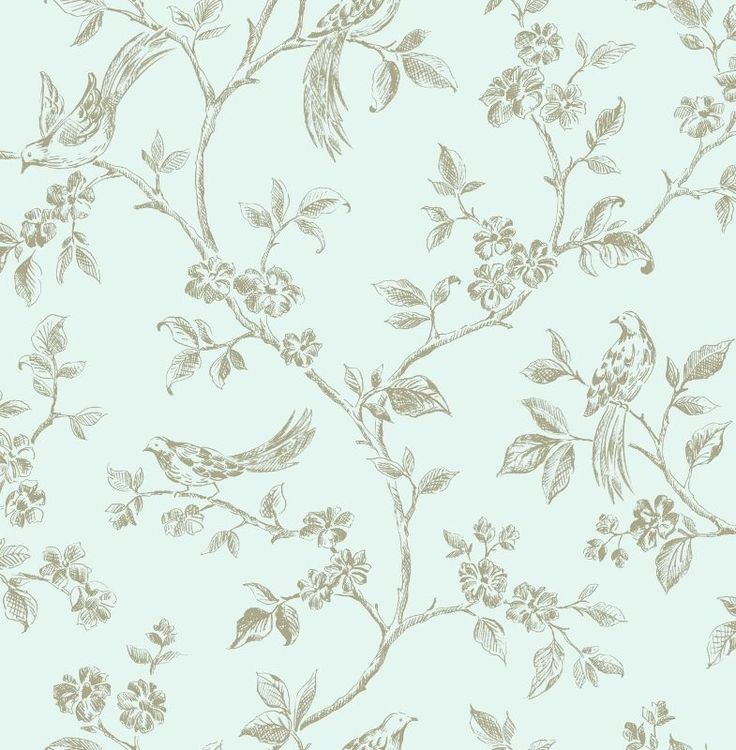 Shabby Chic Duck Egg Blue and Gold Birds in Floral Branches Wallpaper #Finedecor