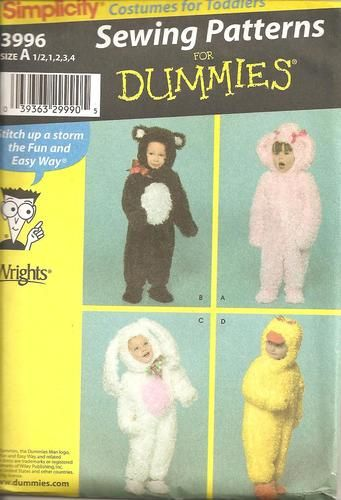 Sewing for Dummies Simplicity Patterns Teddy Bear, Bunny, Chick and Lamb Costume