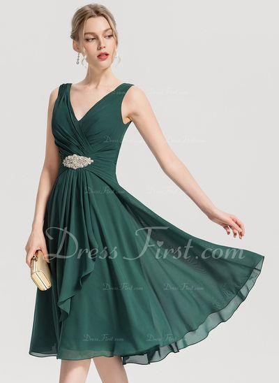 369844005b28de A-Line/Princess V-neck Knee-Length Chiffon Cocktail Dress With Beading  Cascading Ruffles (016154229) - DressFirst