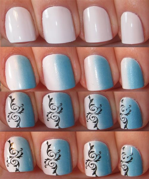 White and Blue Sponge Nail Design