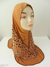 Gold Brown One Piece Slip-On Rhinestone Muslim Hijab Head Wear Cover Islam Scarf