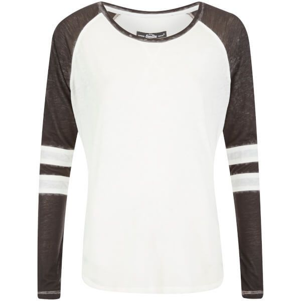 Superdry Women's Essential Burnout T-Shirt - Optic/Black found on Polyvore featuring tops, t-shirts, shirts, stripe tee, scoop neck tee, raglan t shirt, striped t shirt and curved hem t shirt
