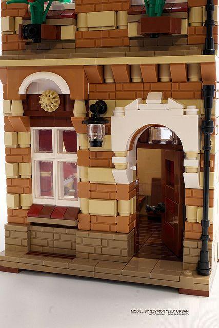 Striped Townhouse LEGO MOC - door by szu_85, via Flickr