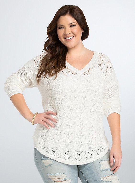 Mix Stitch V-Neck Sweater, IVORY