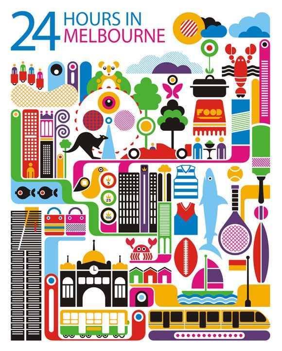 WOW, found this on creative Roots - 24 hours in Melbourne, Australia is part of a series designed by Fernando Volken Togni for the Oryx Magazine, Qatar Airways. #Melbourne