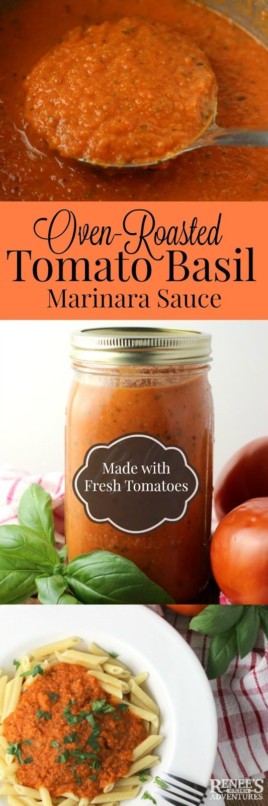Oven-Roasted Tomato Basil Marinara Sauce | Renee's Kitchen Adventures #SundaySupper easy recipe for fresh tomatoes