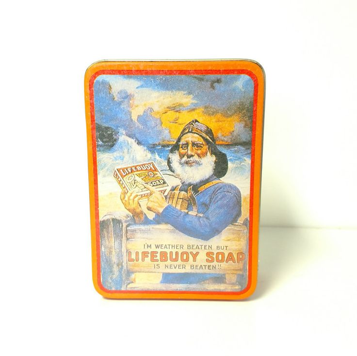 Vintage Lifebuoy Soap Tin Can Storage Bin by VintageByRobin on Etsy
