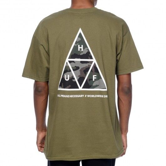 huf muted military tee shirt triple triangle vert kaki logo vetement vetement de marque et marque. Black Bedroom Furniture Sets. Home Design Ideas