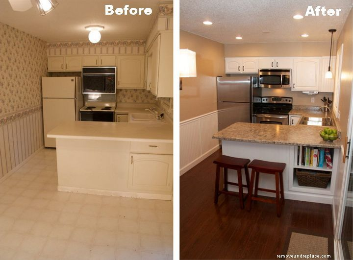 Kitchen remodel before and after repainted the for Painting kitchen countertops before and after