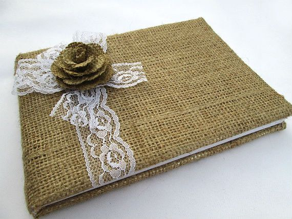 Rustic Burlap Wedding Guest Book Accented with Lace and Burlap Flower - Rustic Wedding, Shabby Chic Wedding, Cottage Chic Wedding