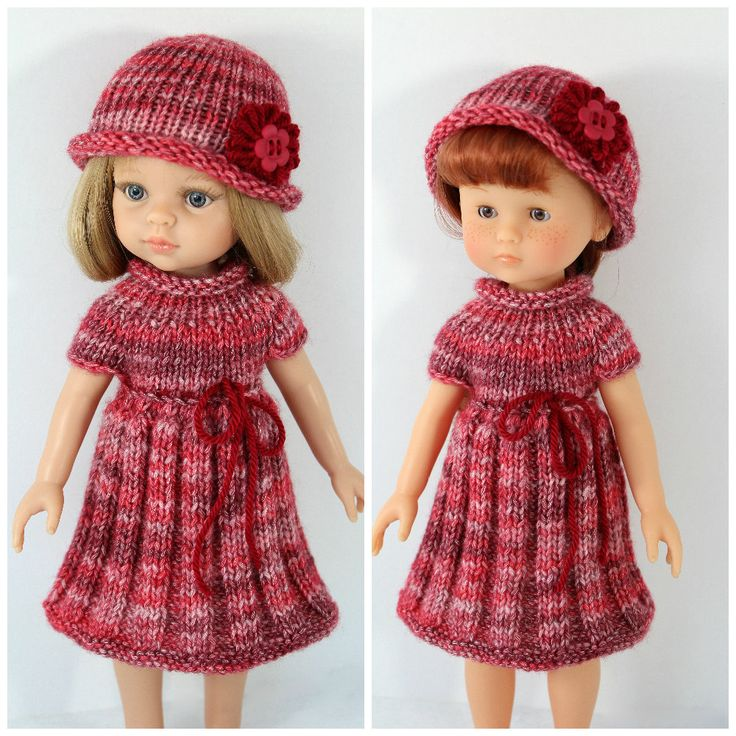 """Knitted dress and hat for Paola Reina doll (12""""/32 cm) and Corolle Les Cheries doll (13""""/33cm). Clothes for dolls. by CSKrafdollscloset on Etsy"""