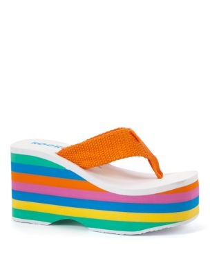 Rocket Dog White Stripe Platform Wedge Flip Flops